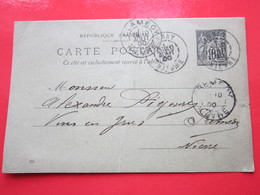 Cp écrite à TANNAY (58) Le 10/08/1900 Oblitérée TANNAY, CLAMECY & PREMERY (58) Timbre Entier Type Sage - Ganzsachen