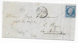 1862 - LETTRE De RETY (PAS DE CALAIS) Avec OR + PC 1892 De MARQUISE => AUDRUICQ - 1849-1876: Période Classique
