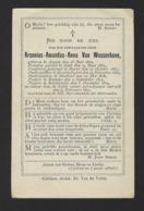 DOODSPRENTJE * ARSENIUS VAN WASSENHOVE * PRIESTER GENT * PASTOOR SCHELLEBELLE * ° AVELGEM + 1897 SCHELLEBELLE - Images Religieuses