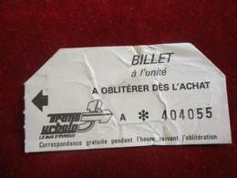 Ticket De BUS Ancien Usagé/à Oblitérer Dés L'Achat / TRANS URBAIN/Publicité CIN Groupe CIC / Vers 1980   TCK167 - Bus