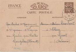 Entier Postal 90c Iris Chantier De Jeunesse 24 - Storia Postale
