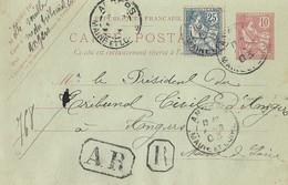 Entier Postal 10c Mouchon RECOMMANDE - Entiers Postaux