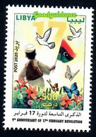 2020- Libya- 9th Anniversary Of 17th February Revolution- Butterflies - Dove - Bird-  Flag - Complete Set 1v.MNH** - Libia