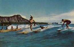 Postcard Hawaii Waikiki The Sport Of Kings Surf / Surfing  My Ref  B13999 - Honolulu