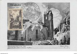 87.n°57689.oradour Sur Glane.gravure De Raoul Serres.prix De Rome.carte Maximum - Oradour Sur Glane