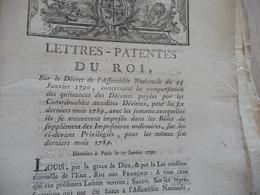 Lettres Patente Du Roi 27/01/1790 Compensation Des Quittances Des Décimes - Decretos & Leyes