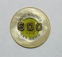 SAN REMO - Casinò MUNICIPALE Di SAN REMO - FICHA / CHIP / FICHE / TOKEN Da 500 - Casino