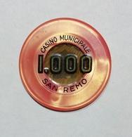 SAN REMO - Casinò MUNICIPALE Di SAN REMO - FICHA / CHIP / FICHE / TOKEN Da 1000 - Casino