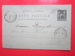 - Cp écrite à CHAMPLEMY (58) 18/10/1900 Oblitérée CHAMPLEMY & PREMERY (58) Timbre Entier Type SAGE - Ganzsachen