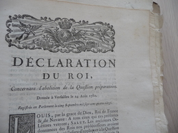 Déclaration Du Roi 24/08/1780 Abolition De La Question Préparatoire - Décrets & Lois