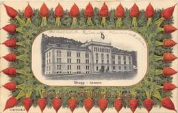 CP Lithographie  GRUSS Vom Rübliland (Aargau) ( Illustration Carottes) Au Centre Vue De BRUGG - Kaserne. - Lithografieën