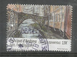 ANDORRA. EUROPA 2018 . Pont D'Engordany. Un Timbre Oblitere, 1 Ere Qualite - Andorre Espagnol