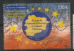 ANDORRA. CONSEJO DE EUROPA. Entrada Del 25 Aniversario A Andorra, Formato Gigante Del Sello, Cancelado, 1a Calidad - Andorre Espagnol