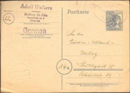 Alli.Bes.12 Pfg. Arbeiter Ganzsache Mit Bahnpoststempel Aus Bedburg V.1948 - Zone AAS