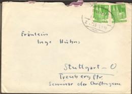 Bizone 2 X 10 Pfg.Bauten A.Fernbrief M.Bahnpoststempel Stuttgart V.1950 - Zone Anglo-Américaine