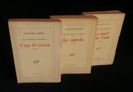 LES CHEMINS DE LA LIBERTE  3 Tomes  Jean-Paul SARTRE GALLIMARD Nrf  1945 - Klassische Autoren