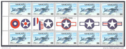 1993 VANUATU 911 ** Avions, Issus De Série, Bloc De 10, Avec Vignettes - Vanuatu (1980-...)