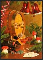 D3905 - Glückwunschkarte Neujahr - Mecki Fliegenpilz Glocken - Horn Karte - Nouvel An