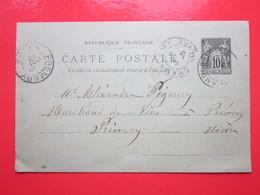 - Cp écrite à CHAMPLEMY (58) Le 18/10/1900 Oblitérée CHAMPLEMY & PREMERY (58) Timbre Entier Type SAGE - Ganzsachen