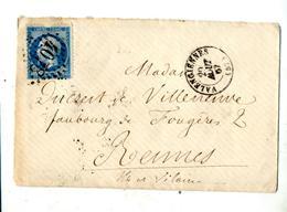 Lettre Cachet  Losange Valenciennes Sur Napoleon + Rennes - 1849-1876: Periodo Clásico