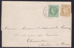 France, Paris - Yvert N° 53 Et 59, Càd Sur LAC De 1872 - 1849-1876: Période Classique