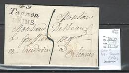 France - Lettre Cursive 49- TAGNON REIMS - Marne -1826 - Marcofilia (sobres)