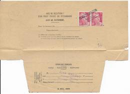 1947 - AVIS De RECEPTION DE LETTRE RECOMMANDEE De HAUBOURDIN (NORD) Avec ANNULATION LINEAIRE ! => LOMME - GANDON - Marcophilie (Lettres)
