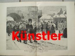 1735 Arthur Kampf Mann Und Ross Geschlagen 42x29 Cm Druck  1898 !! - Documents