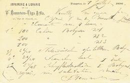 Entier Postal Armoiries TONGRES 1896 Vers LIEGE - Repiquage Vve DEMARTEAU-THYS & Fils  Imprimerie-librairie Te  TONGEREN - Entiers Postaux