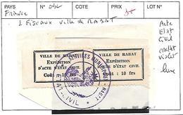 FRANCE OBL 2 FISCAUX VILLE DE RABAT ACTE ETAT CIVIL CACHET VIOLET LUXE - Fiscaux