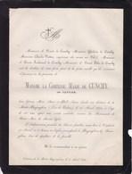 BAYENGHEM PAS-DE-CALAIS Marie VATTIER Comtesse De CUNCHY 40 Ans 1874 Château De La MOTTE-BAYENGHEM - Todesanzeige
