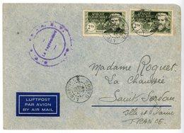 AEF GABON ENV EN FM 1939 LIBREVILLE SURTAXE AERIENNE ACQUITTEE EN TIMBRE - Cartas