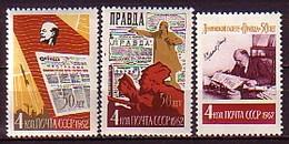 RUSSIA - UdSSR - 1962 - 50ans De Journal Pravda - 1v** Mi 2596/98 - 1923-1991 URSS