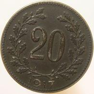 LaZooRo: Austria 20 Heller 1917 XF / UNC - Autriche