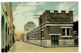 Ref 1338 - Early Postcard - Railway Railroad Station Telegraph Co - Colon Panama USA Canal Zone - Panama