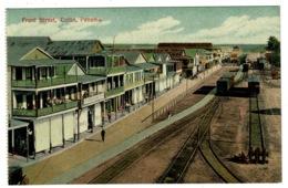 Ref 1338 - Early Postcard - Front Street And Railway Trucks - Colon Panama USA Canal Zone - Panama