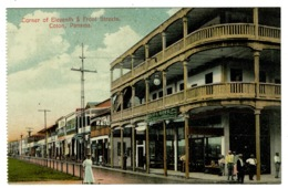 Ref 1338 - Early Postcard - Corner Of Eleventh & Front Streets - Colon Panama USA Canal Zone - Panama