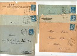 Lot 48 Lettres Cachet Convoyeur Sur 30 C Semeuse à Voir - Storia Postale