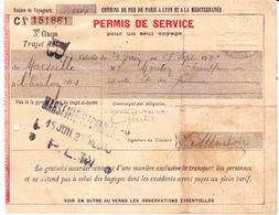 Permis De Circulation PLM De Marseille à Chalon-sur-Saône (1922) - Autres