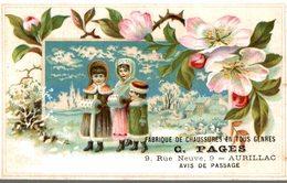 CHROMO  GAUFRE FABRIQUE DE CHAUSSURES EN TOUS GENRES C. PAGES AURILLAC  ENFANTS DANS LE FROID - Trade Cards