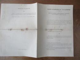 """CALONNE-RICOUART SOCIETE DE RECHERCHES DE """"LA CLARENCE"""" LE 21 FEVRIER 1894 STATUTS - Documents Historiques"""