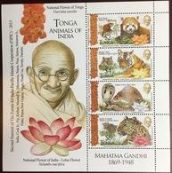 Tonga 2015 Animals Of India Gandhi Reptiles Sheetlet MNH - Zonder Classificatie