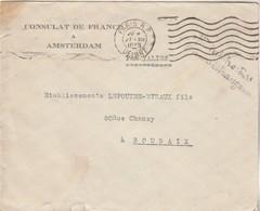 Lettre PAR VALISE Marque Cursive Ministère Affaires Etrangères Consulat France Amsterdam Cachet Paris1938 à Roubaix - Marcofilie (Brieven)