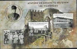 TURKEY, 2019, MNH, CENTENARY OF KEMAL ATATURK ARRIVAL IN ANKARA, CASTLES, SHEETLET - Famous People