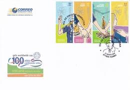 SCOUT, GIRLS WORLDWIDE SAY, 100 AÑOS CAMBIANDO VIDAS, 1910 - 2010 GUIDISMO MUNDIAL. ARGENTINA 2005 FDC ITUZAINGO -LILHU - Padvinderij