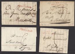 Pyrénées Orientales : Lot De 4 Plis De PERPIGNAN En Port Du Avec Marques Postales Linéaire 65/PERPIGNAN Rouges De 1810 à - Marcofilia (sobres)