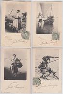 FOUR OLD POSTCARDS - PORTUGAL - TYPE - 1900'S - MATHOSINHOS - VARZIM -  PALMEIRA - - Autres