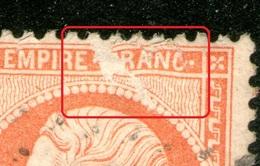 N° 23°_accident à L'impression_papier Ou Poinçon ???_le Timbre N'est Pas Coupé_dents Droites_GC 233= AURAY - 1862 Napoleon III