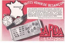 PUBLICITE(CHRONOMETRE_MONTRE SARDA) BESANCON - Publicité