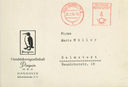 20a Hannover 1953 - Pinguin Handstickerei - Illustriertes Kuvert - BRD
